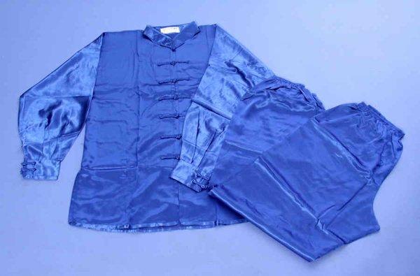 Uniforme / kimono blu manica lunga in raso wushu.