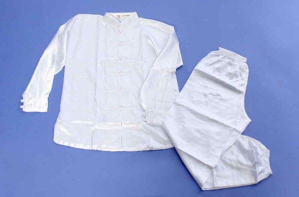Uniforme / kimono bianco manica lunga in raso wushu.