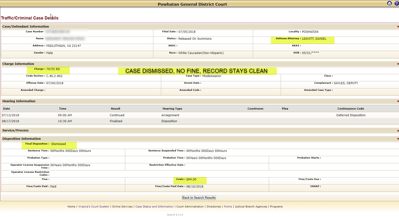 Powhatan, Virginia Reckless Driving 79 MPH in 55 DISMISSED