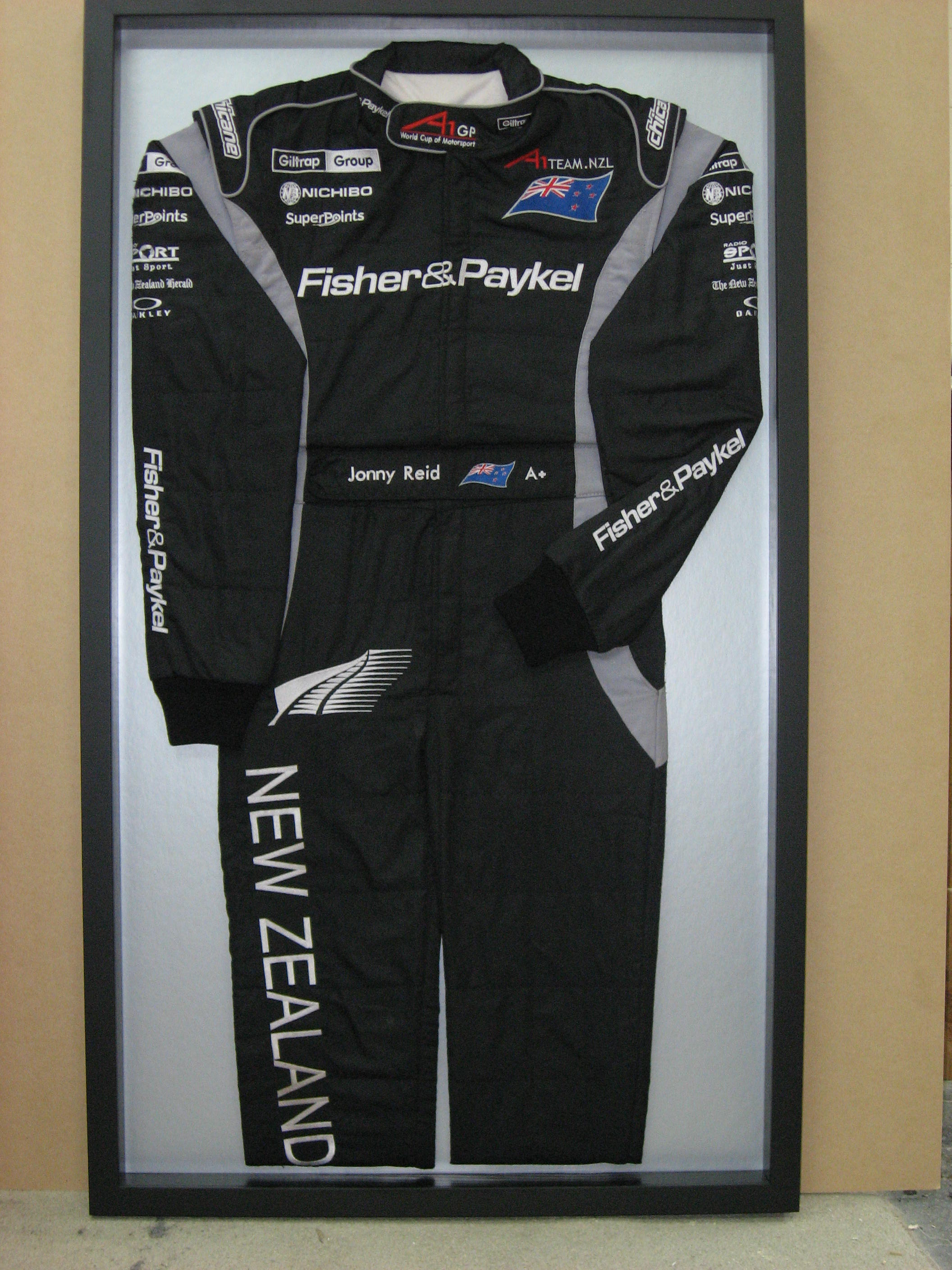 View of the framed sportswear
