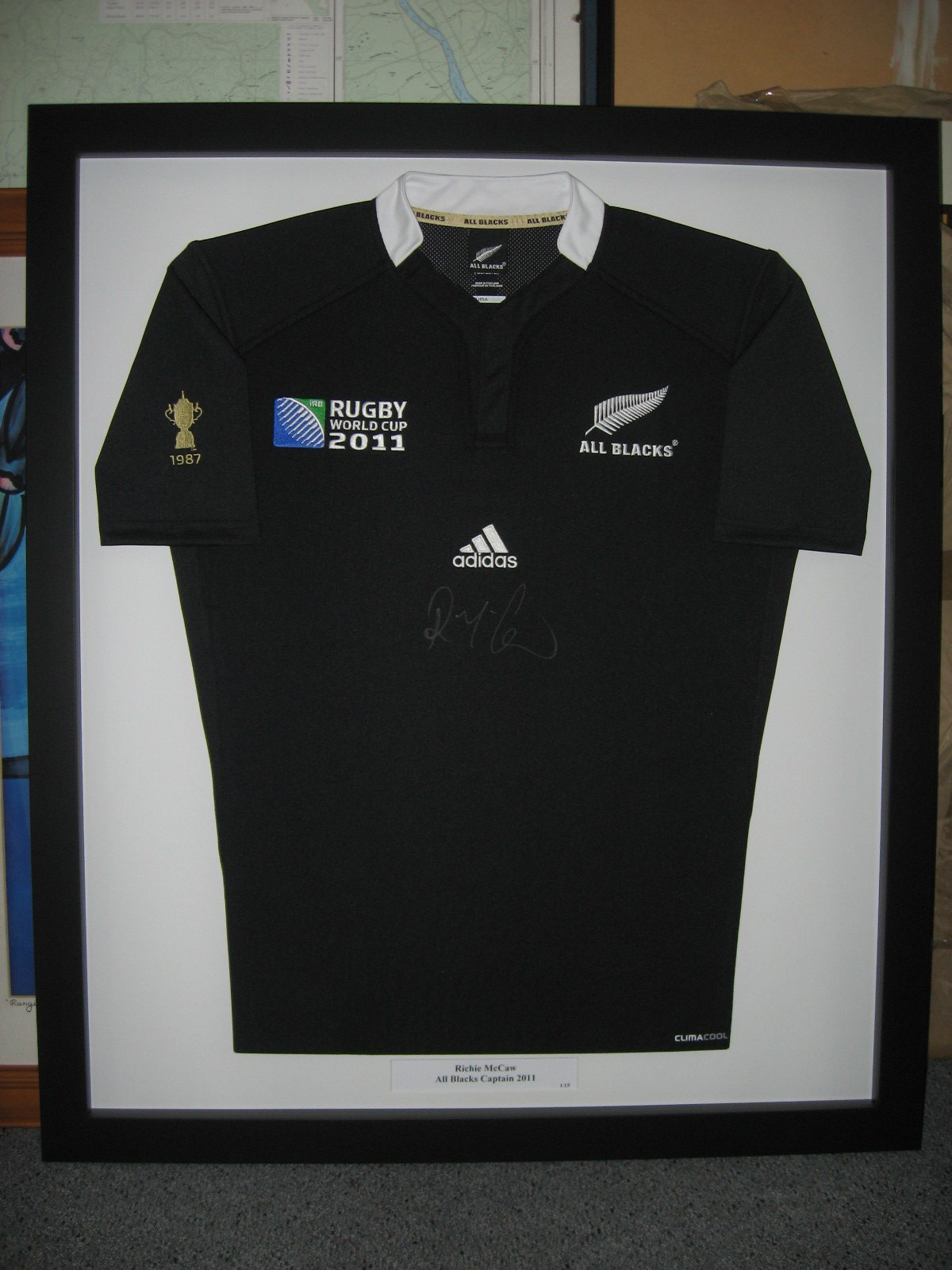 View of the framed sports tshirt