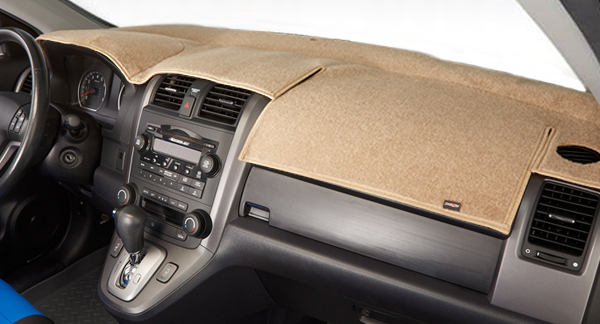 A cardboard interior with dashboard protector