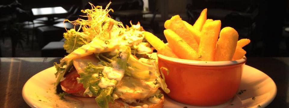 open chicken sandwich at Otautau Hotel