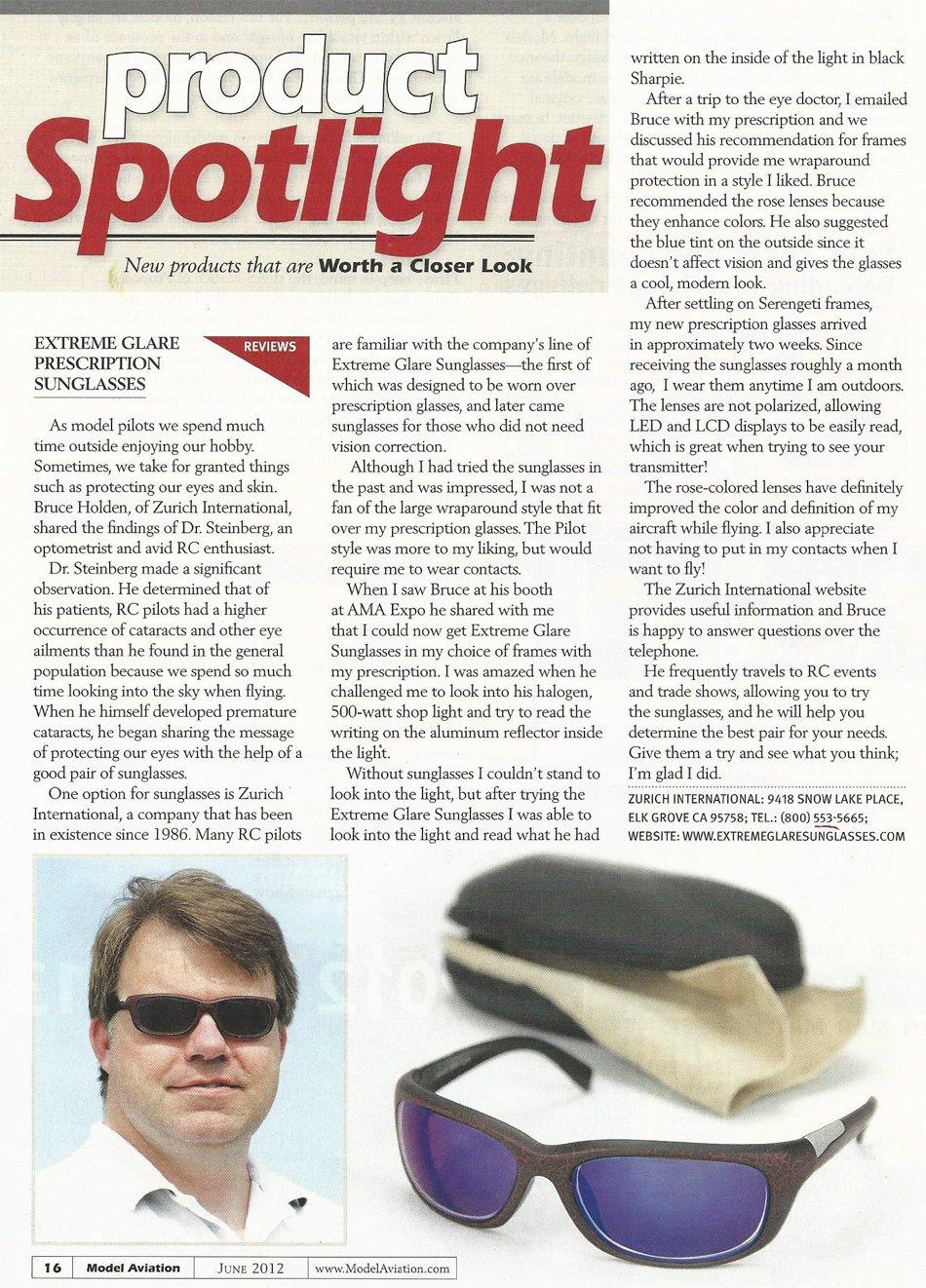 Z-XG Extreme Glare Sunglasses Testimonial Article