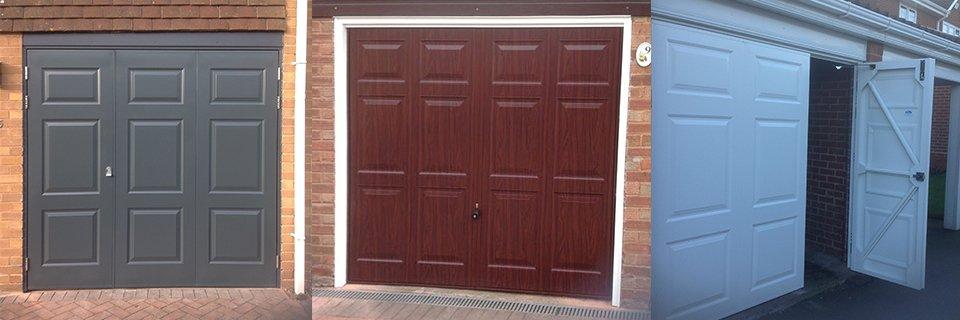 Various styles of garage doors