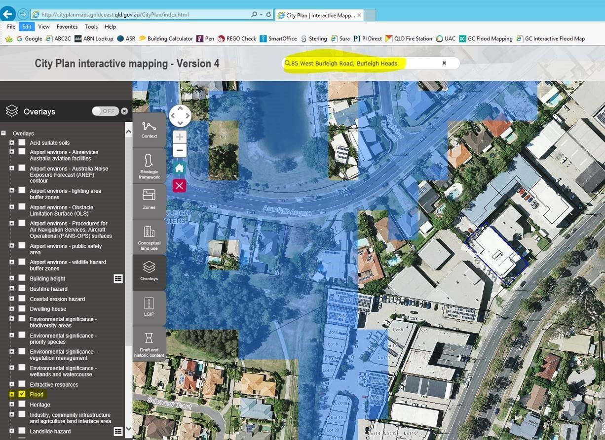 Gold Coast Flood Mapping - Check off map