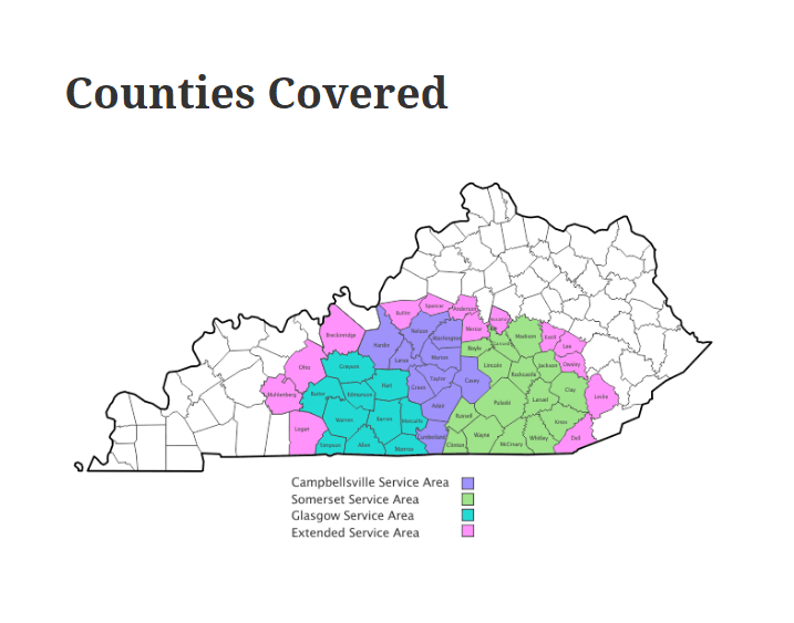 Counties covered map