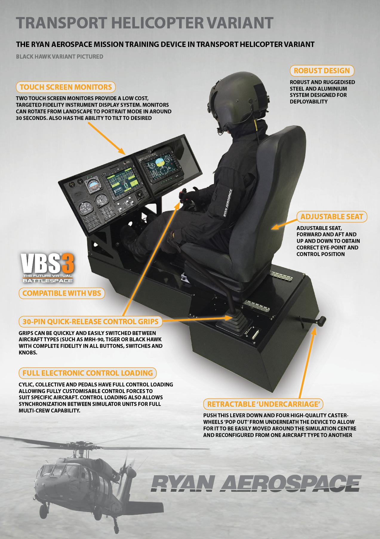 Ryan Aerospace Mission Trainer in Black Hawk variant