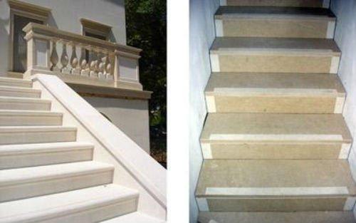 due foto di due tipi diversi di gradini in marmo