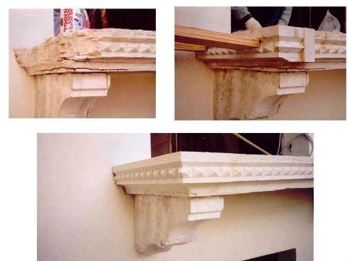 tre foto di un davanzale in marmo dopo i processi di restauro