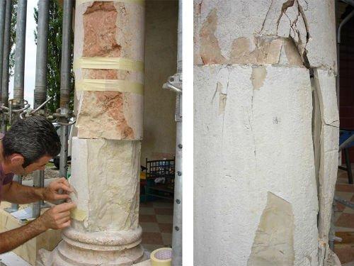 un uomo intento a restaurare una costruzione in marmo