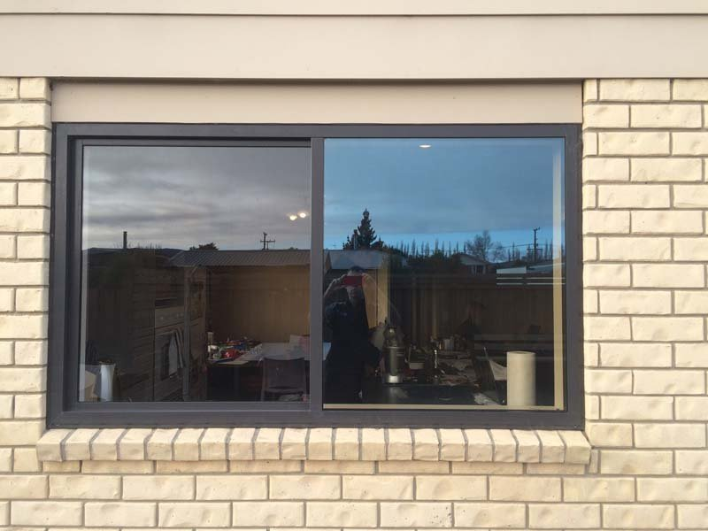 View of the window with tinted glass