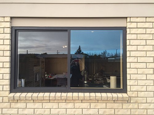 View of window film installed on residential windows