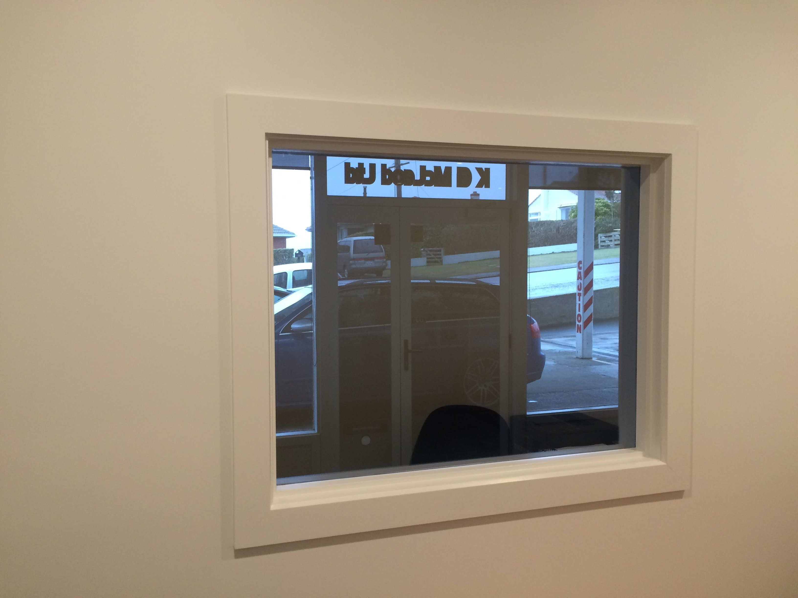 View of the window with glass film installed