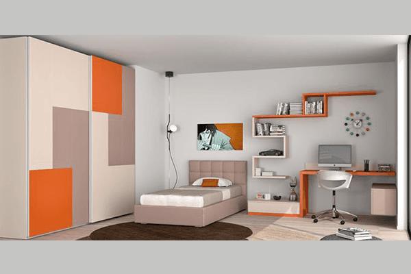 Armadio arancio bianco e rovere