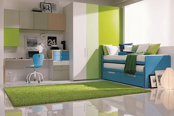 Cameretta con divano doppio letto