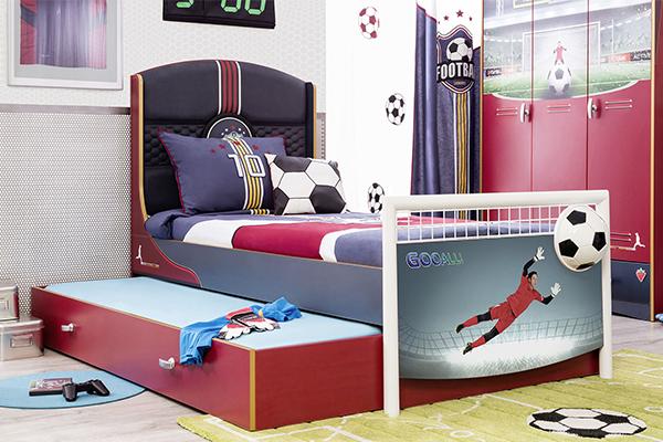 doppio letto estraibile con calciatore
