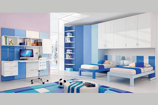 Camera per ragazzi azzurro e bianco