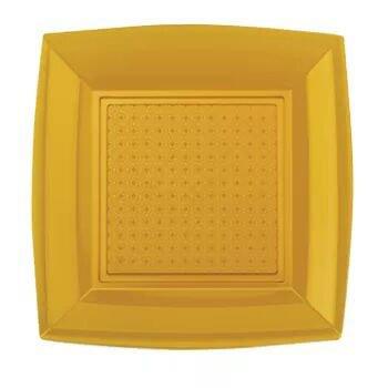 recipiente quadrato di plastica di color giallo