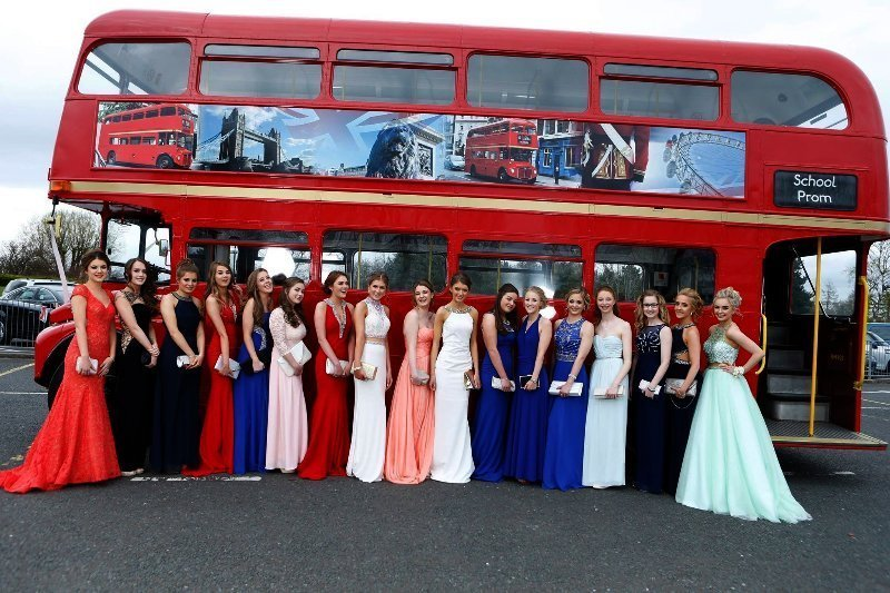 Travel for prom in red bus