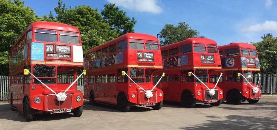 traditional red london buses in newcastle