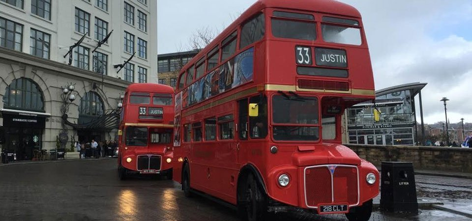 Classic vintage buses in Newcastle