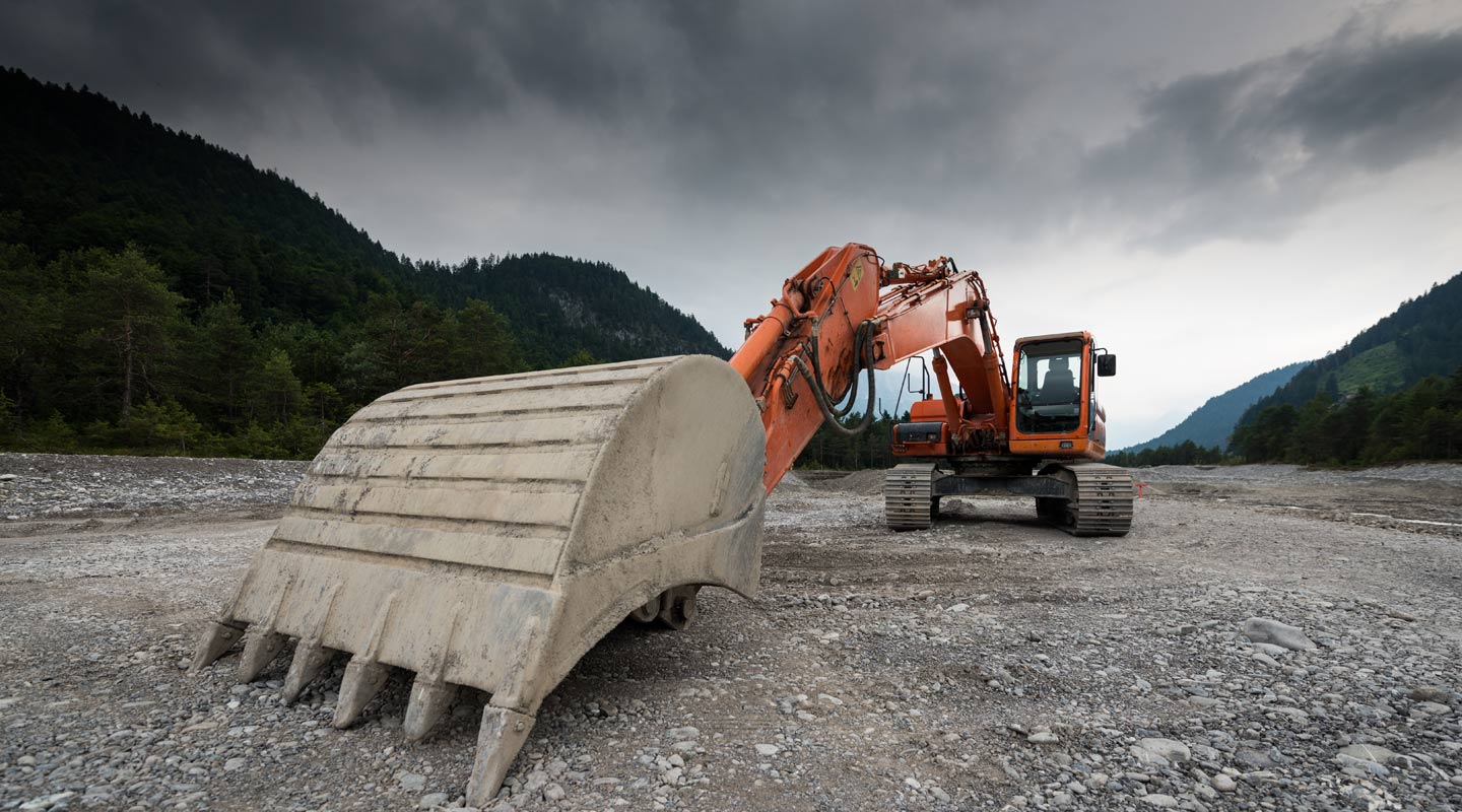 Excavation machine at a project site