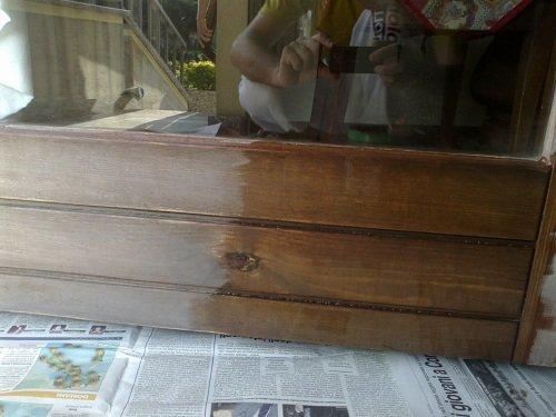 Struttura in legno appena verniciata