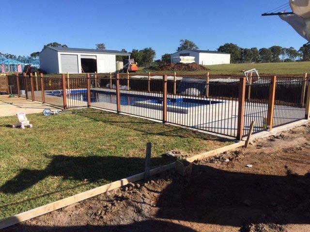 new fence around swimming pool