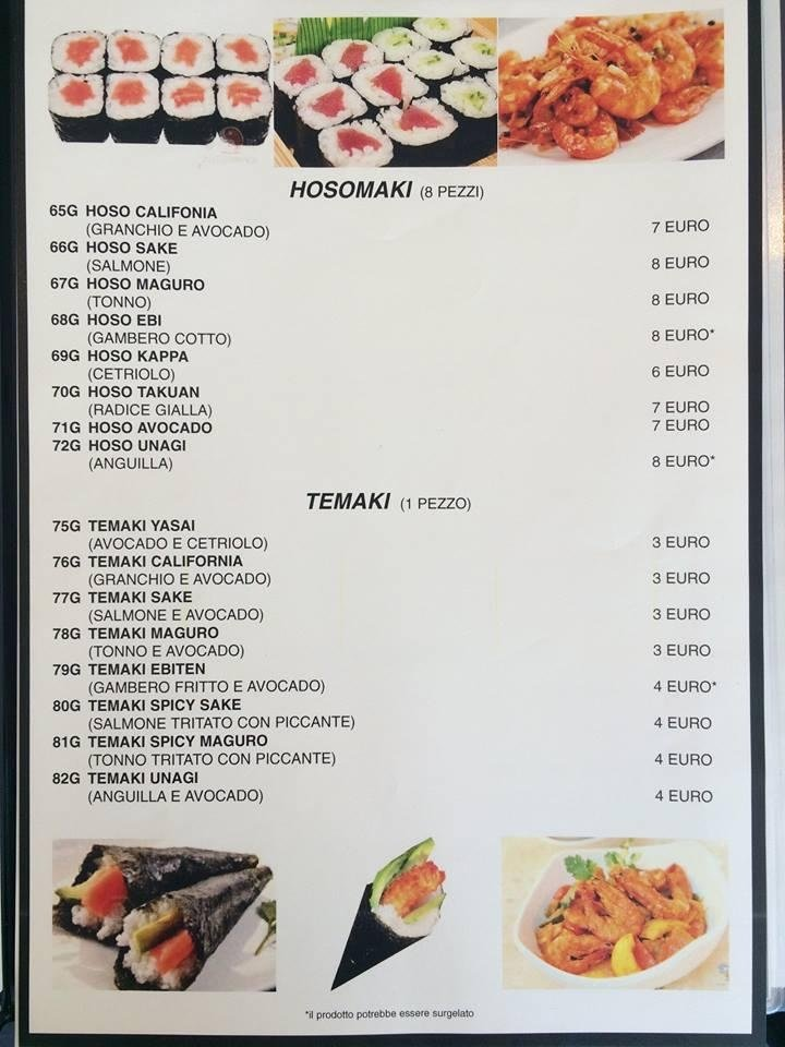 menu ristorante momotaro agrigento