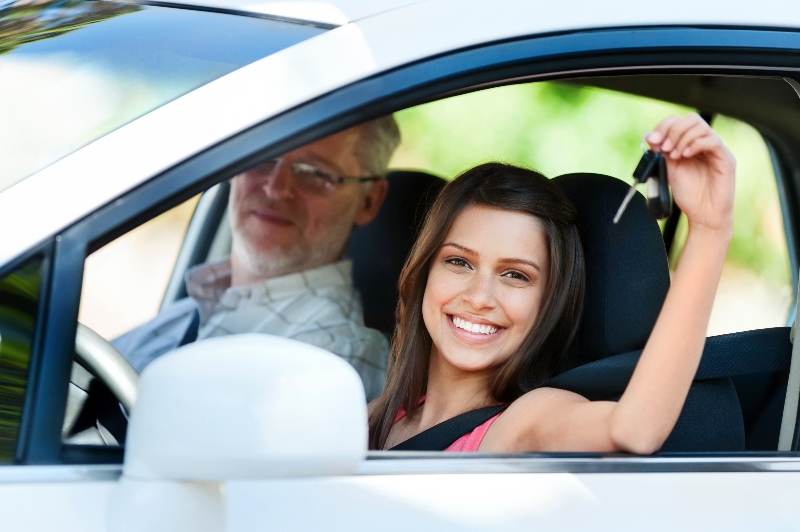 Teenager happy after successfully completing her driving training