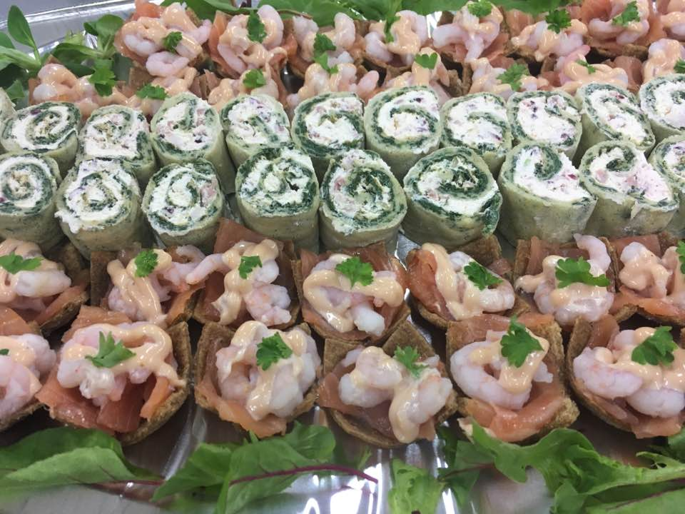 Spinach roularde filled with smoked bacon and cream cheese