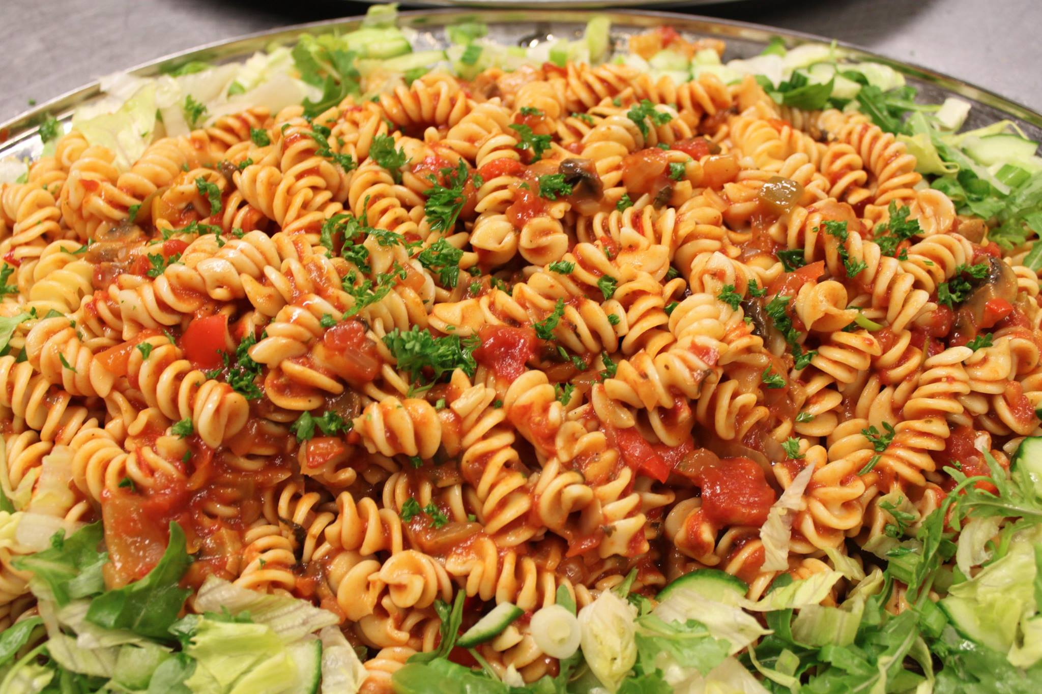 Pasta tossed in a freshly made salsa sauce.