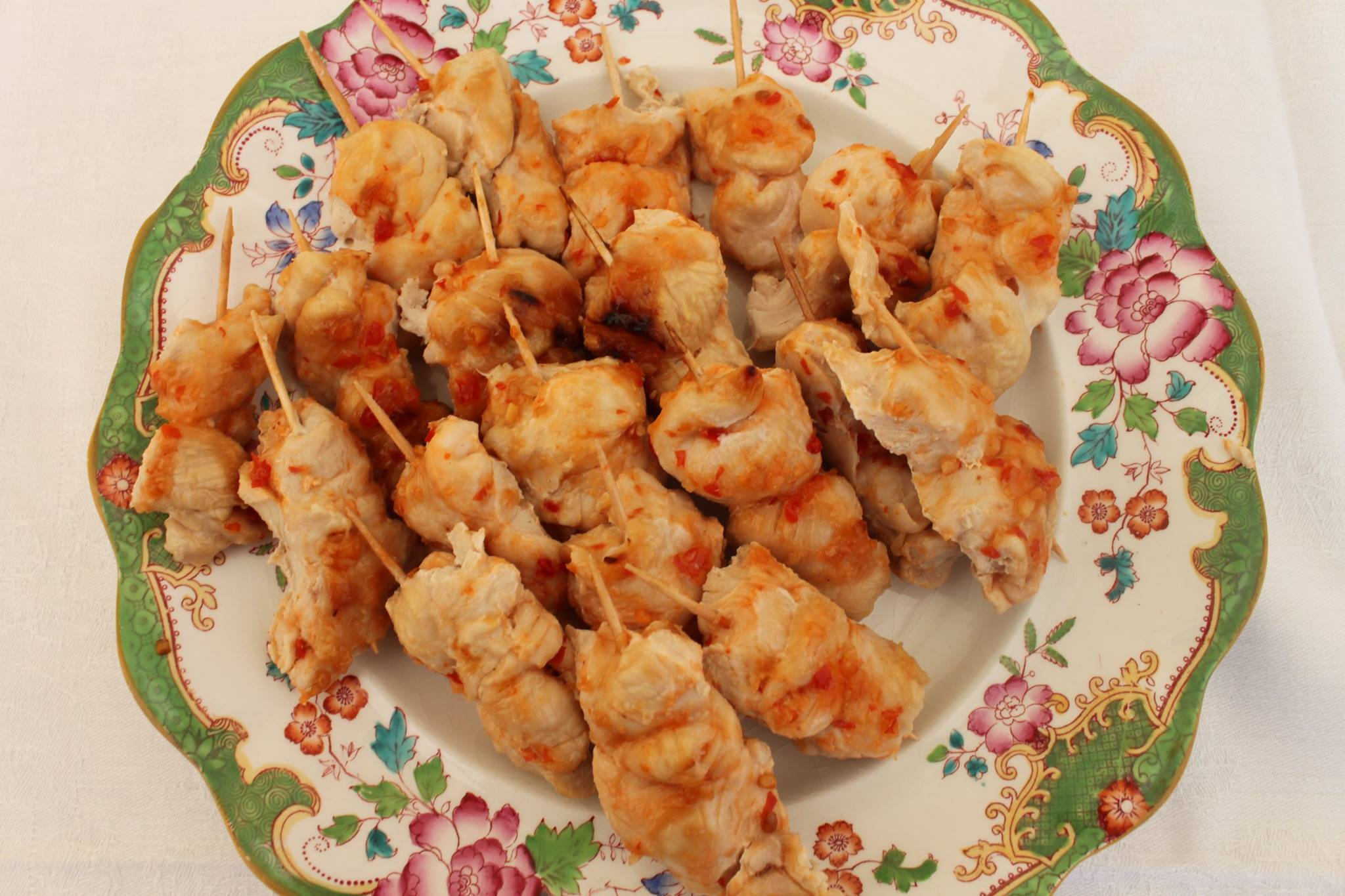 Chicken and sweet chilli kebab canapes.