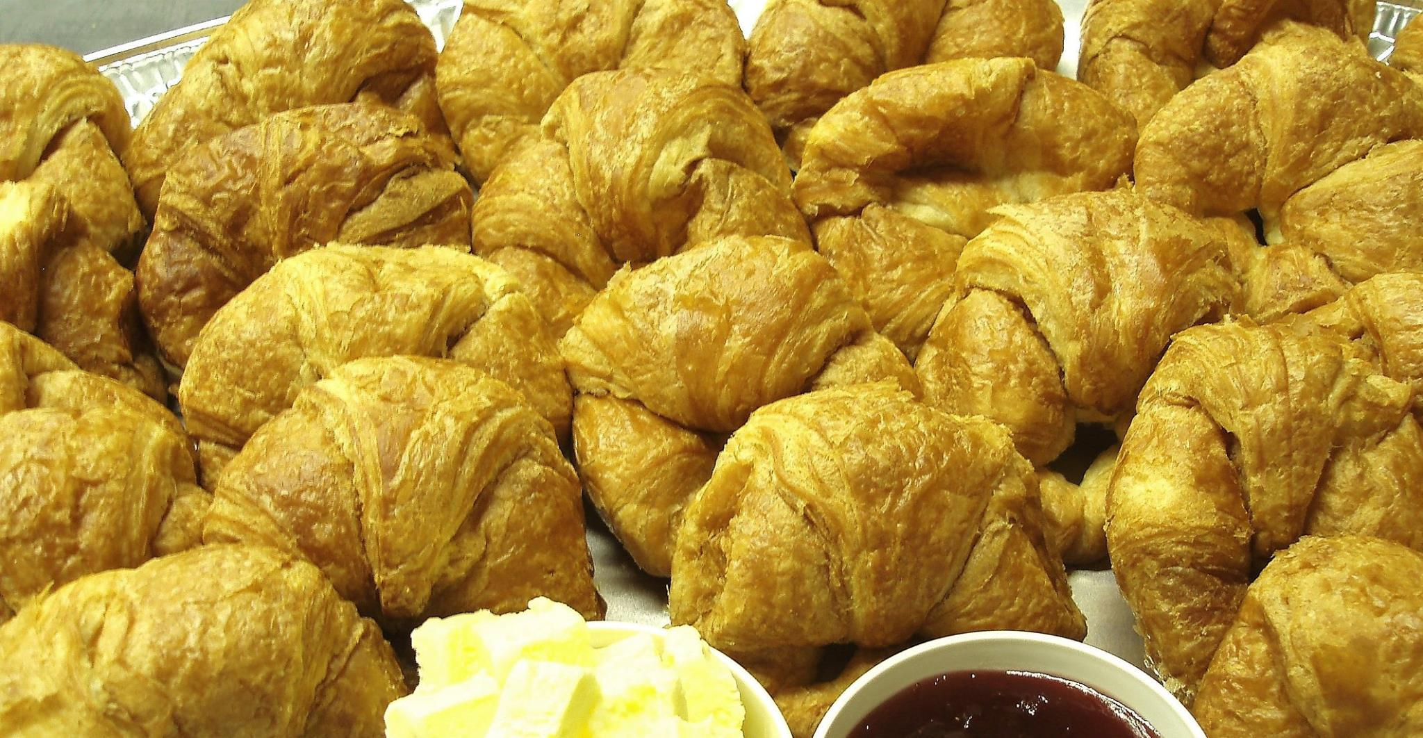 butter croissants with butter and jam