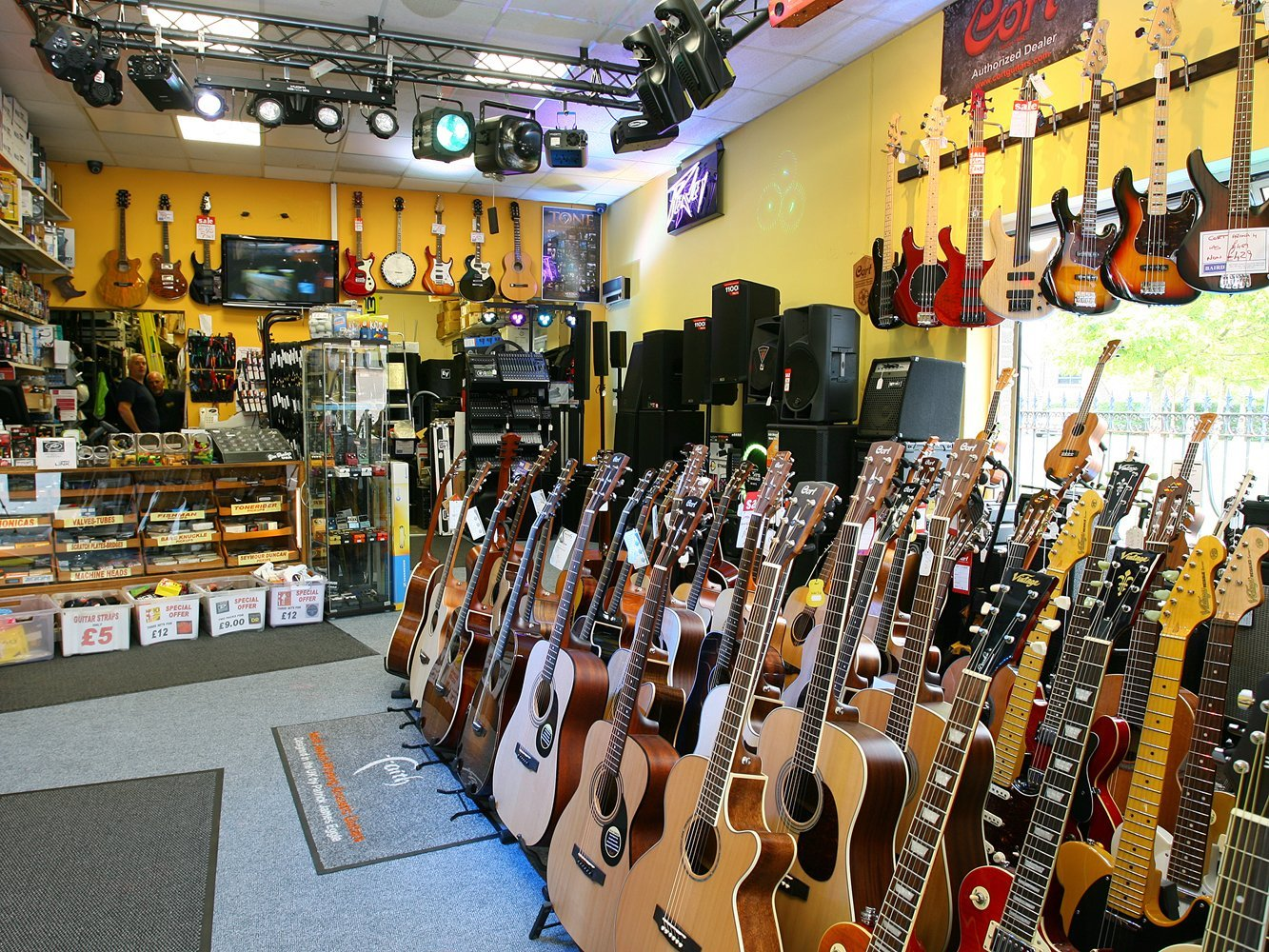 musical instruments inside the store