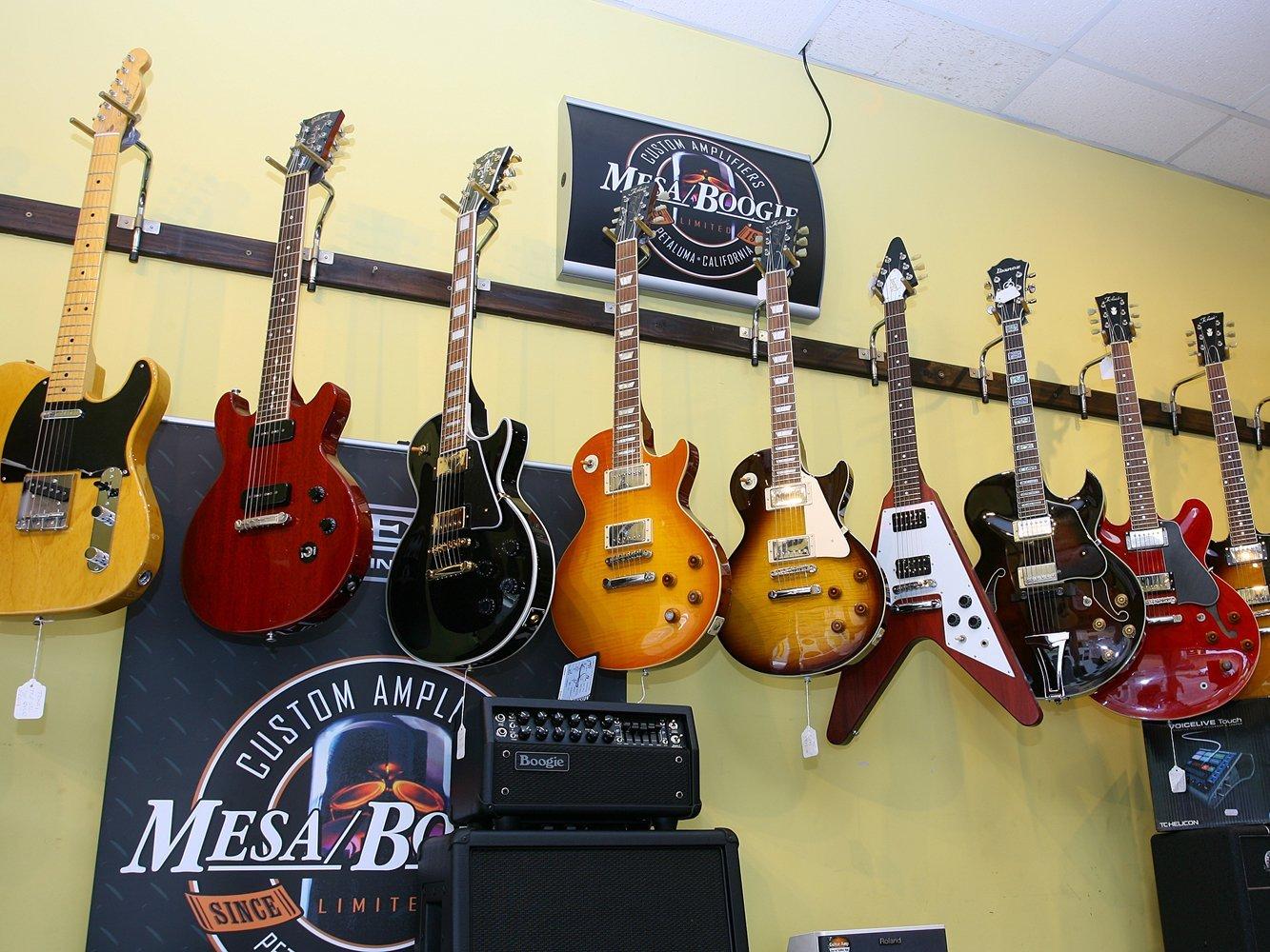 multi-coloured guitars
