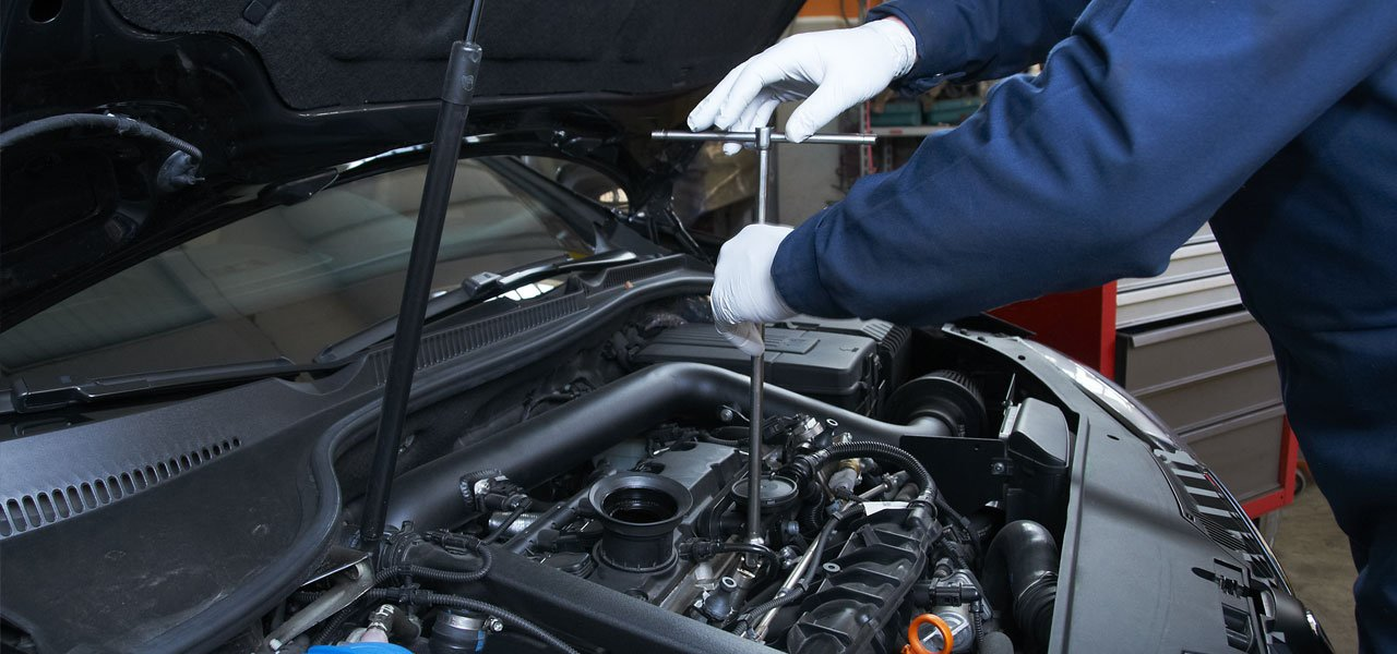car engine being serviced