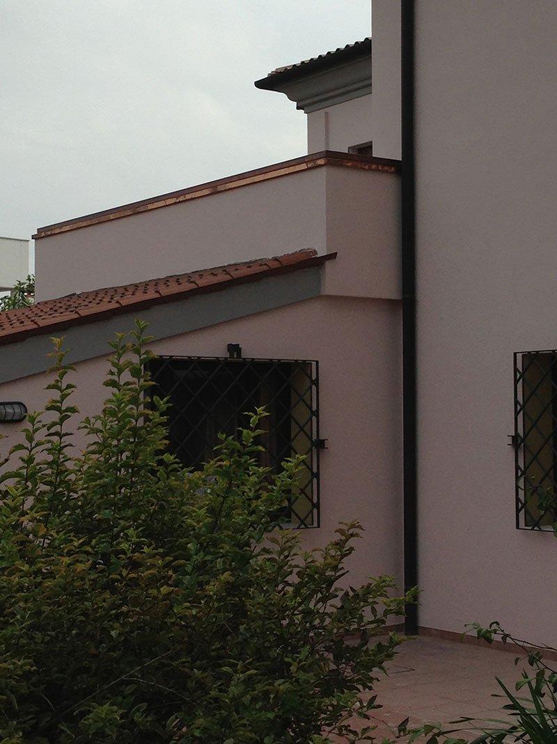 un cespuglio e dietro vista di una casa color rosa chiaro