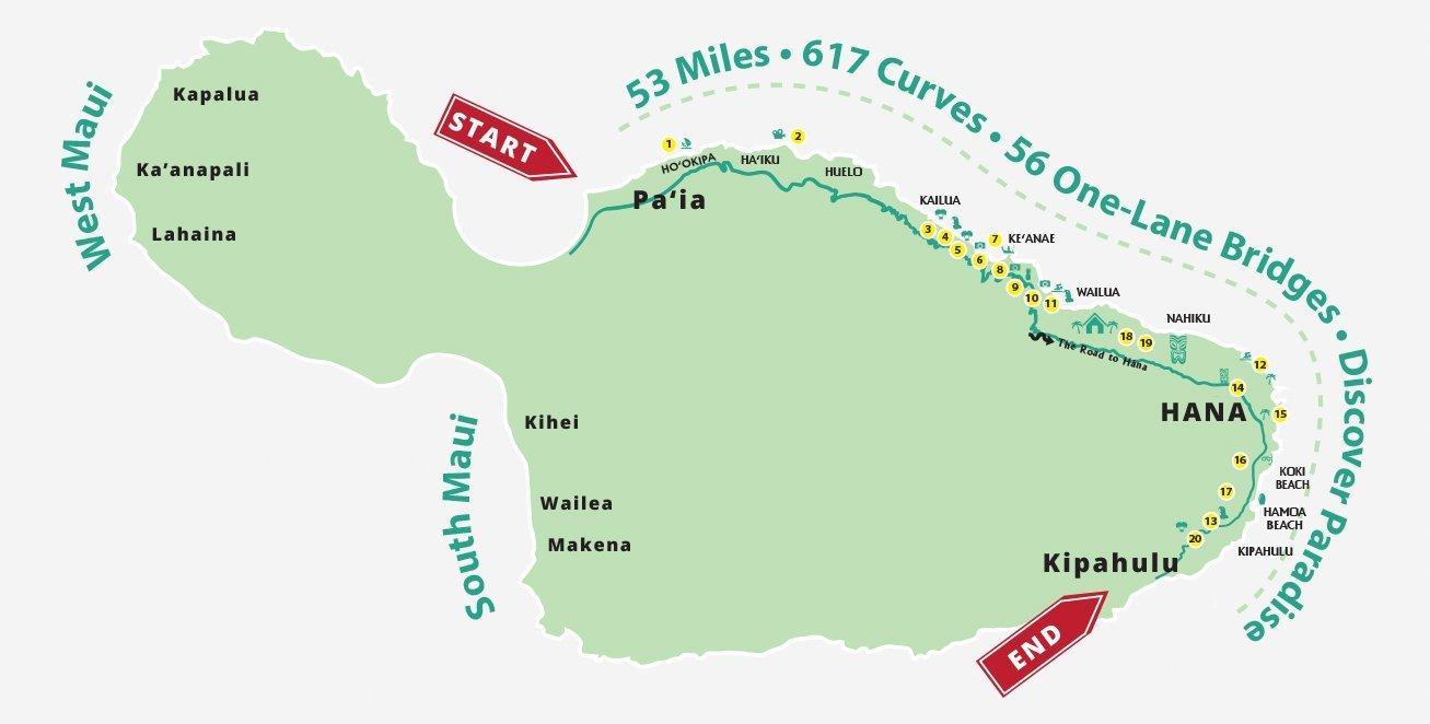 Road To Hana Map Best Stops   Best in Travel 2018