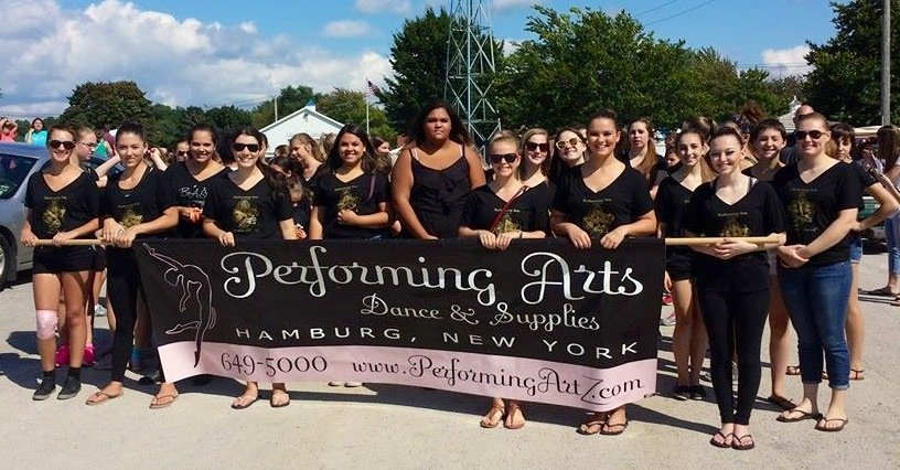 Performing Arts Dance School Students Holding Banner in Hamburg NY
