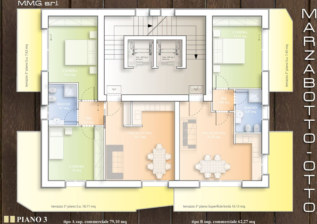 Esterni degli appartamenti di via Marzabotto a Bologna
