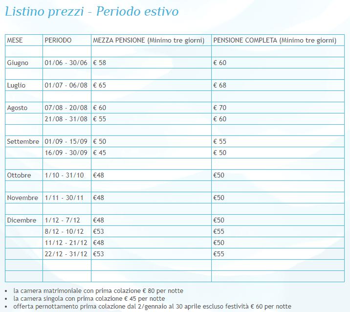 Listino prezzi dell'hotel