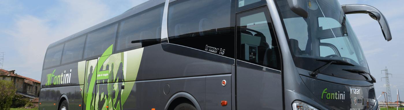 Autobus grigio metallico con decorazioni verdi
