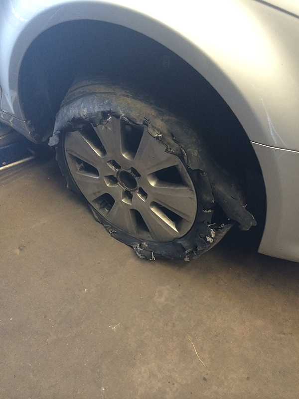 worn out tyres