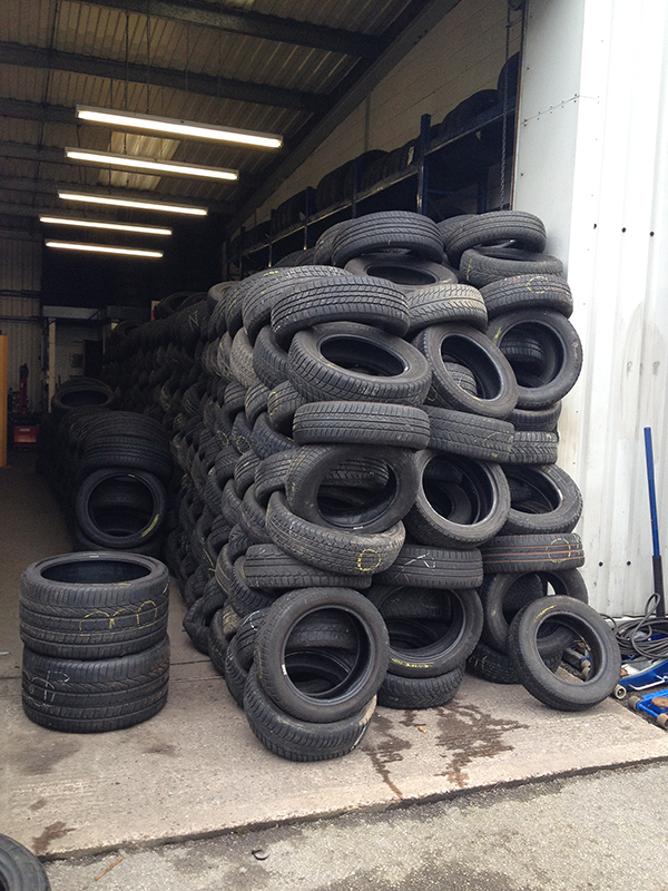 tyres at the garage