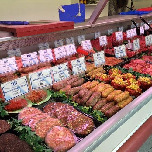 Meat displayed at the counter