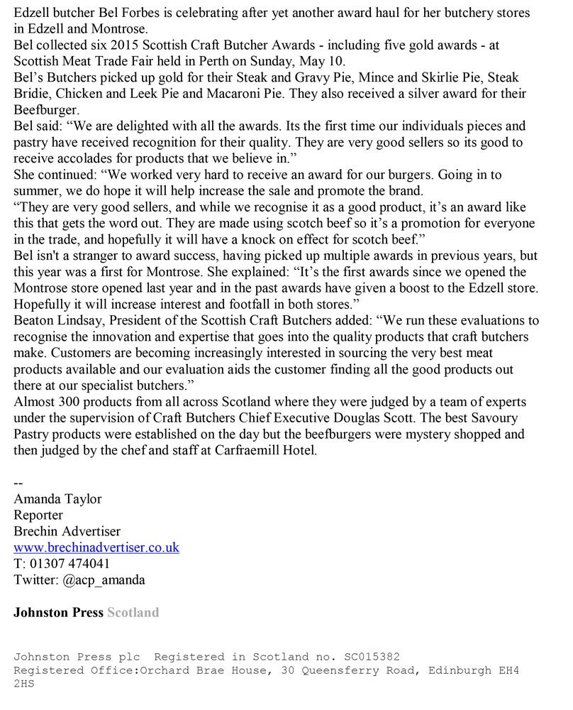 Letter on winning award in quality meat in in Edzell and Montrose