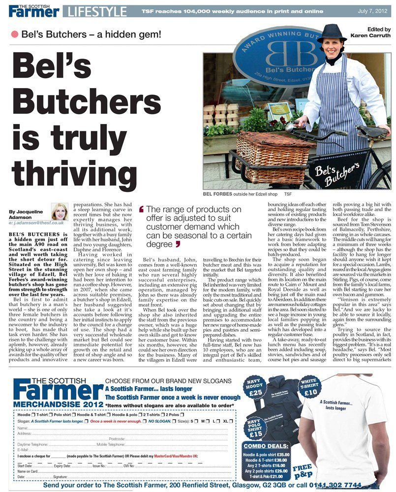 Article about Bel's butchers in The Scottish farmer