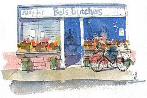 View of Bel's butchers shop